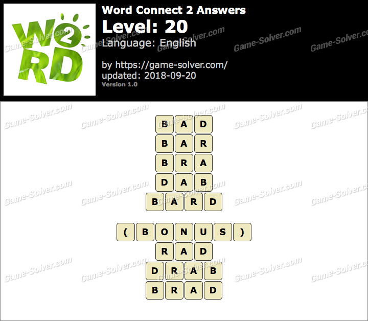 Word Connect 2 Level 20 Answers