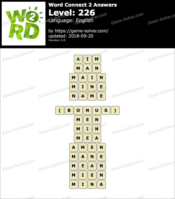 Word Connect 2 Level 226 Answers