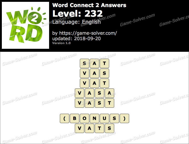 Word Connect 2 Level 232 Answers