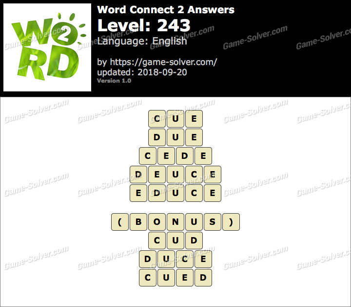 Word Connect 2 Level 243 Answers