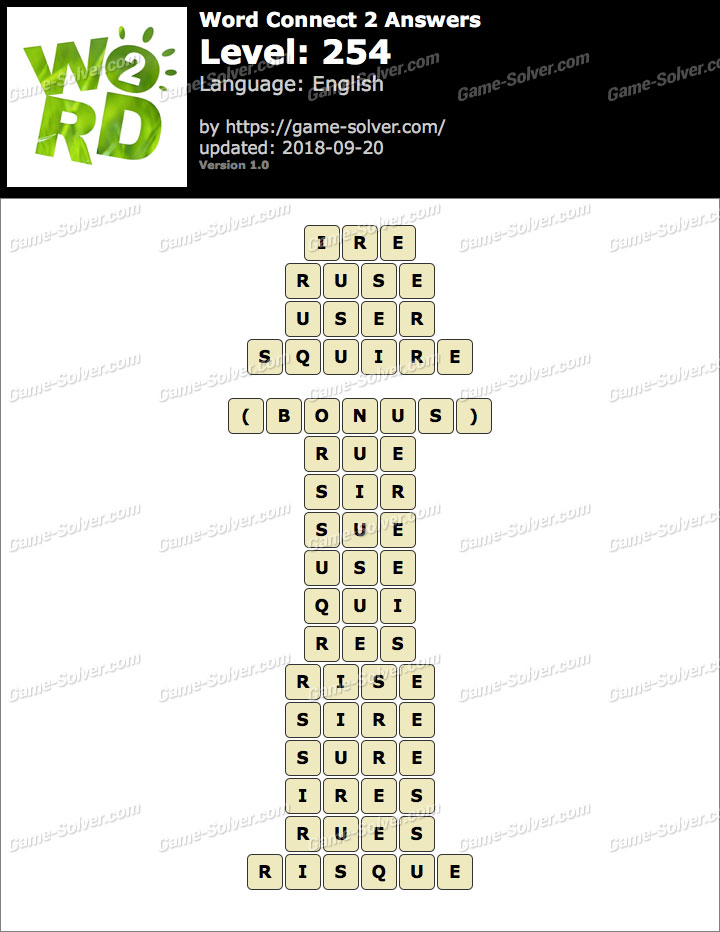 Word Connect 2 Level 254 Answers
