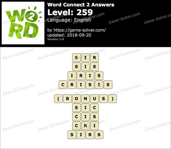 Word Connect 2 Level 259 Answers