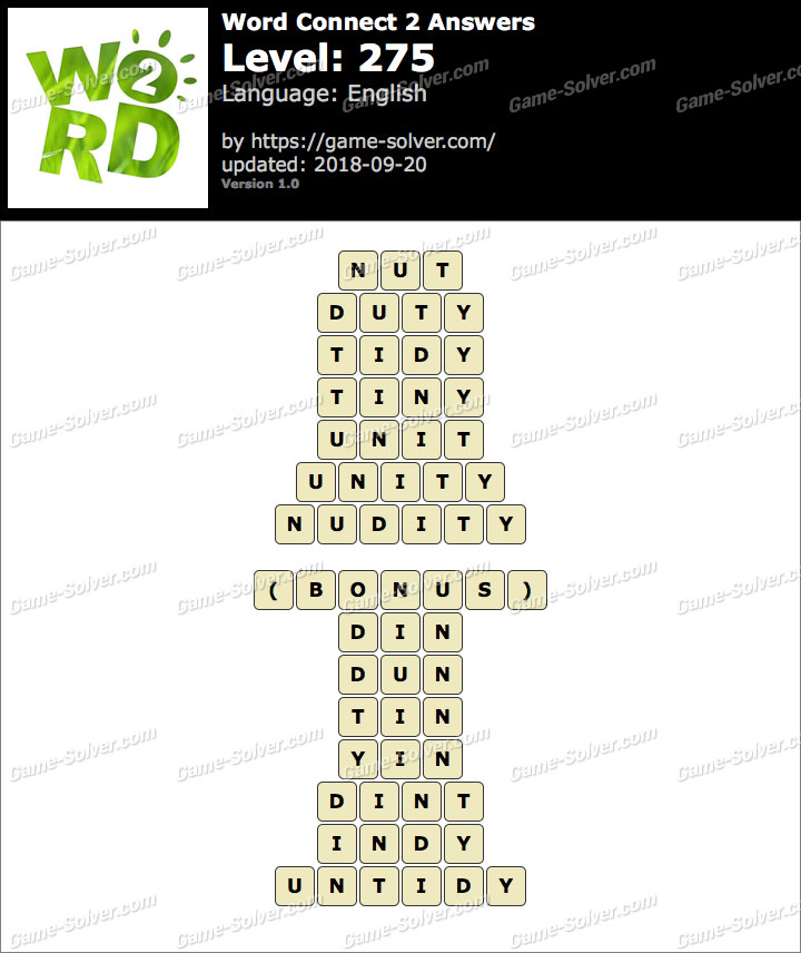 Word Connect 2 Level 275 Answers