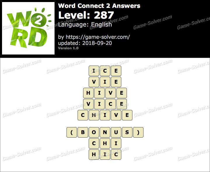 Word Connect 2 Level 287 Answers