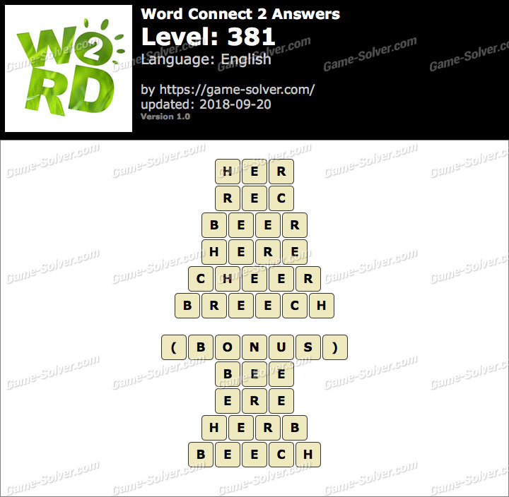 Word Connect 2 Level 381 Answers