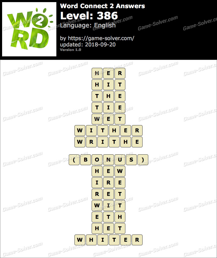 Word Connect 2 Level 386 Answers