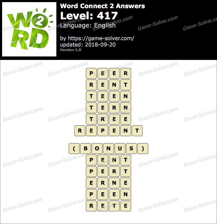 Word Connect 2 Level 417 Answers
