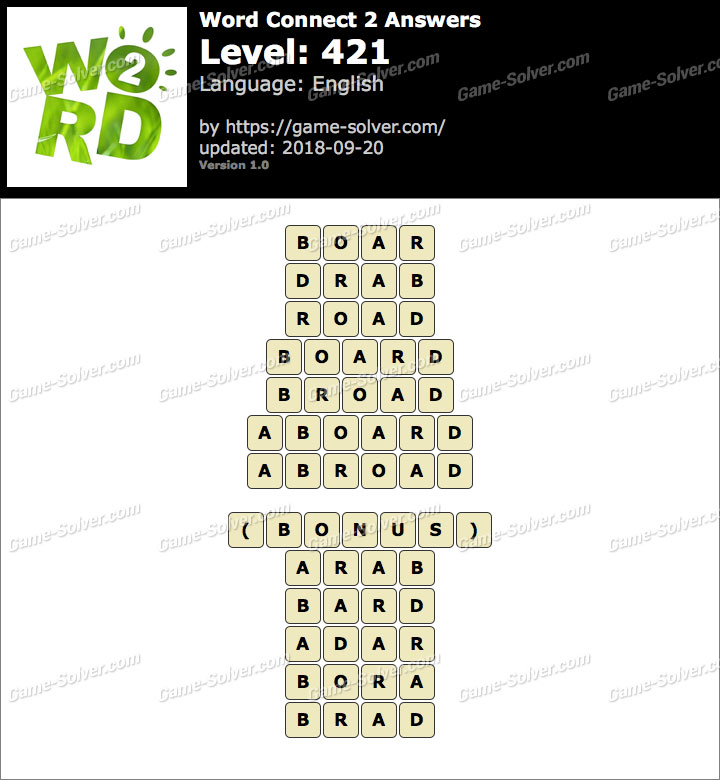 Word Connect 2 Level 421 Answers