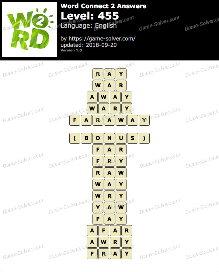 Word Connect 2 Level 455 Answers