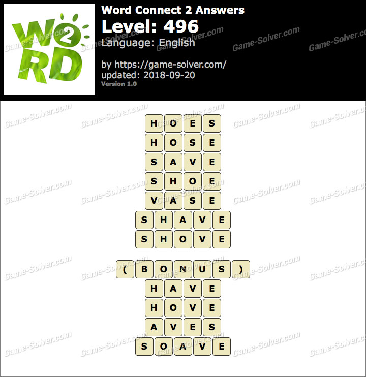 Word Connect 2 Level 496 Answers
