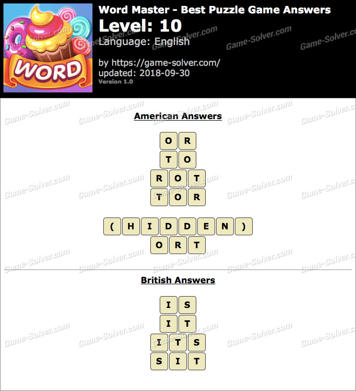 Word Master-Best Puzzle Game Level 10 Answers