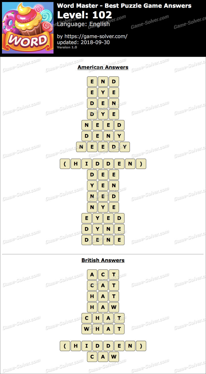Word Master-Best Puzzle Game Level 102 Answers