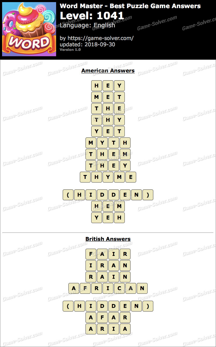 Word Master-Best Puzzle Game Level 1041 Answers