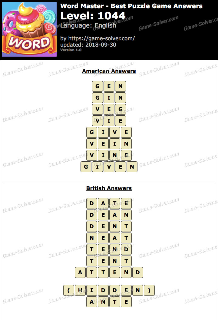 Word Master-Best Puzzle Game Level 1044 Answers