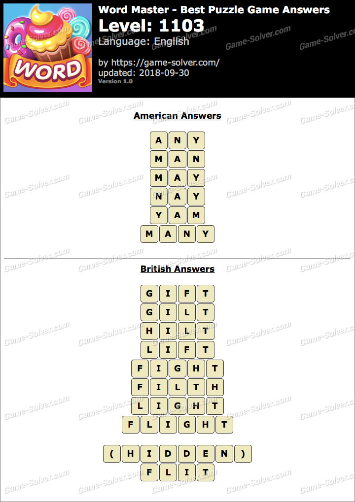 Word Master-Best Puzzle Game Level 1103 Answers