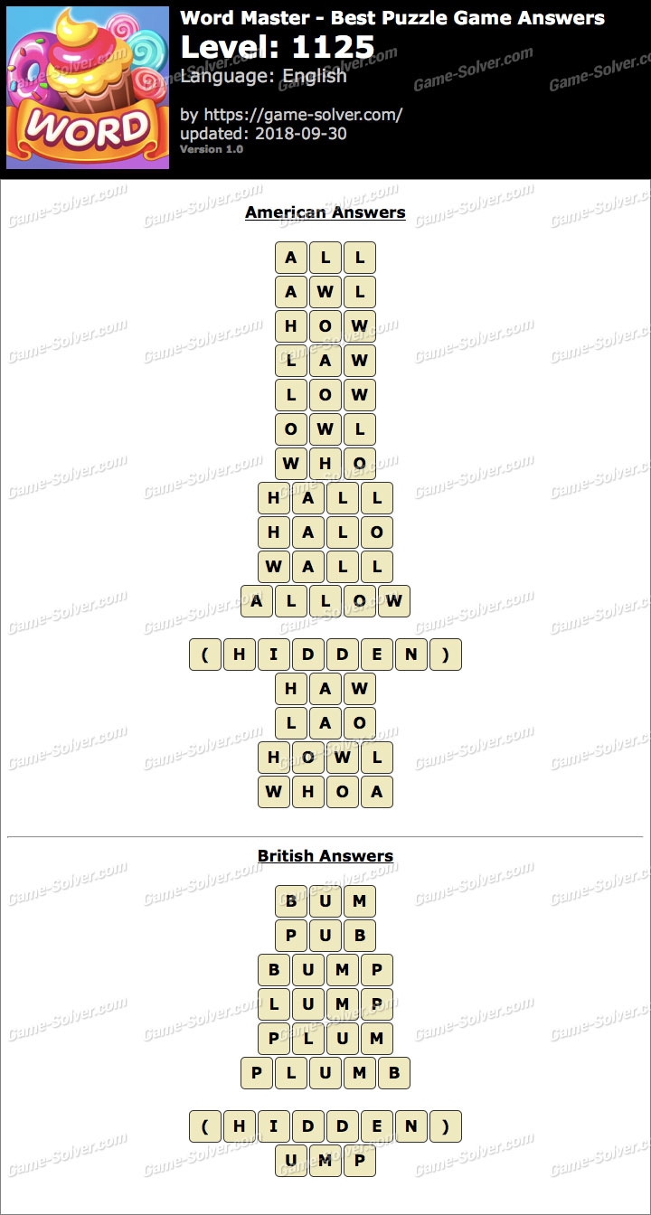 Word Master-Best Puzzle Game Level 1125 Answers