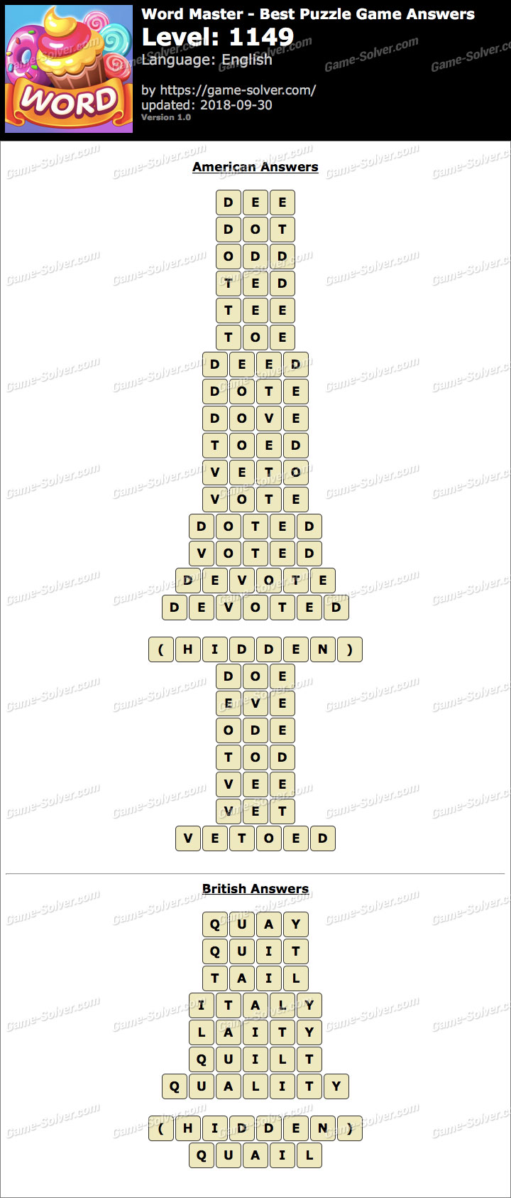 Word Master-Best Puzzle Game Level 1149 Answers
