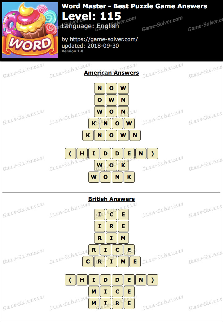 Word Master-Best Puzzle Game Level 115 Answers