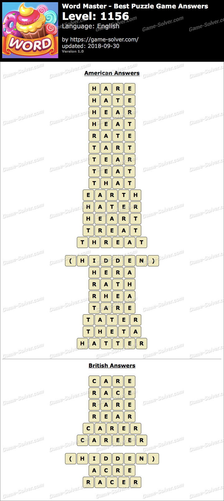 Word Master-Best Puzzle Game Level 1156 Answers