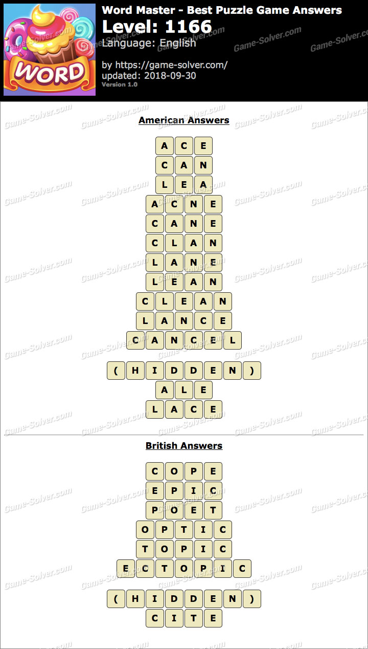 Word Master-Best Puzzle Game Level 1166 Answers