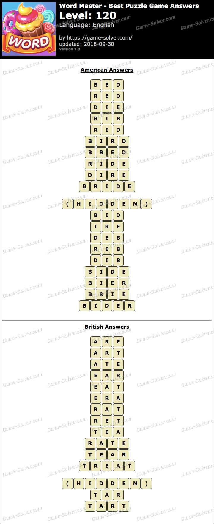 Word Master-Best Puzzle Game Level 120 Answers