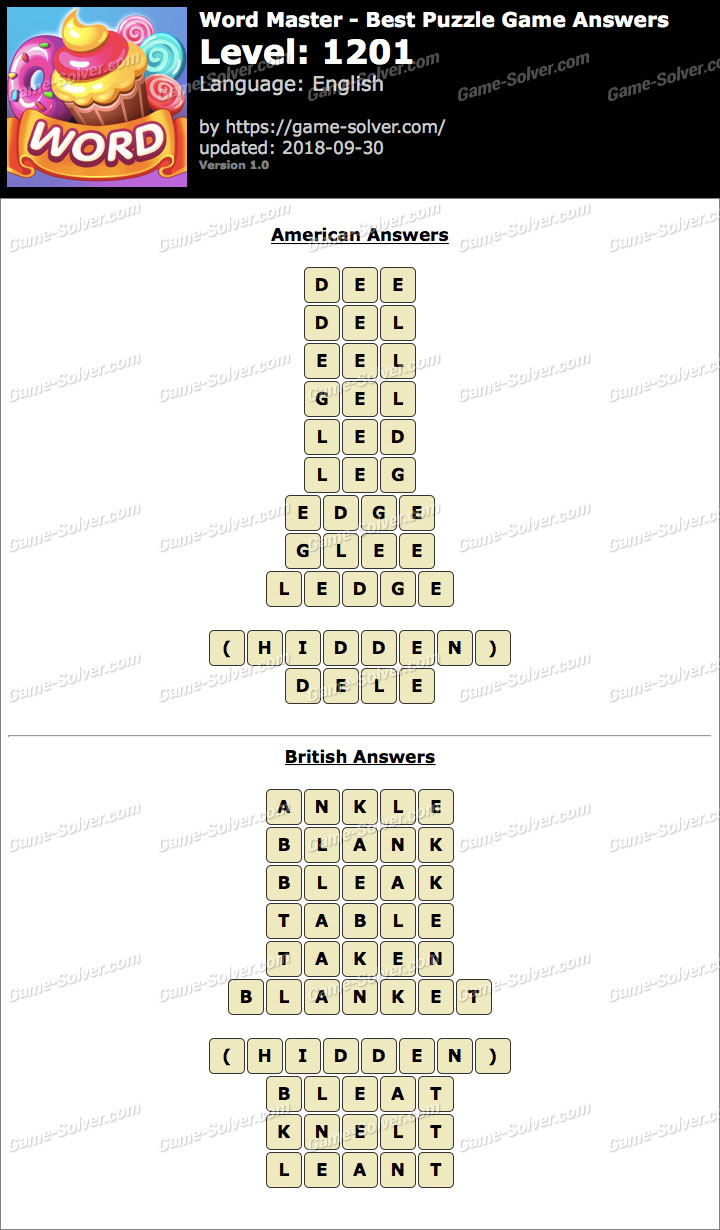 Word Master-Best Puzzle Game Level 1201 Answers