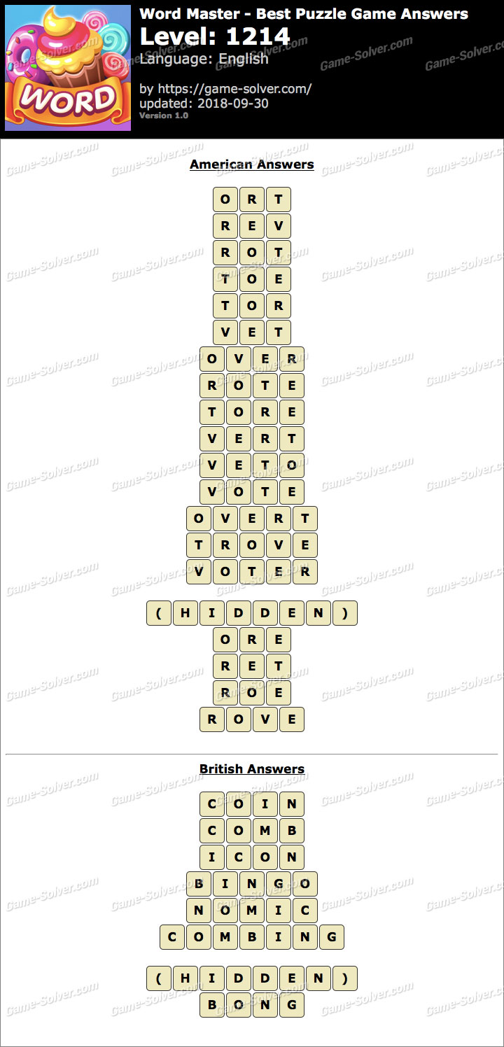 Word Master-Best Puzzle Game Level 1214 Answers