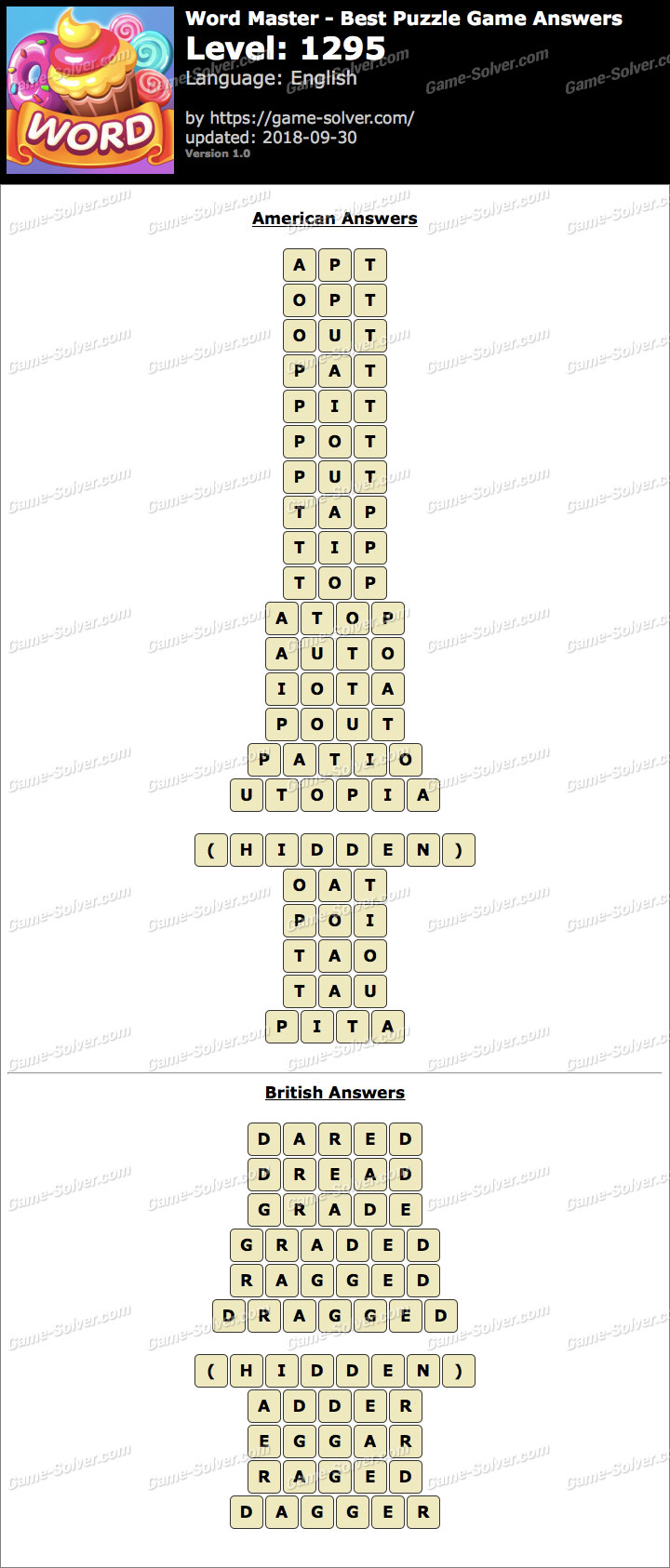 Word Master-Best Puzzle Game Level 1295 Answers