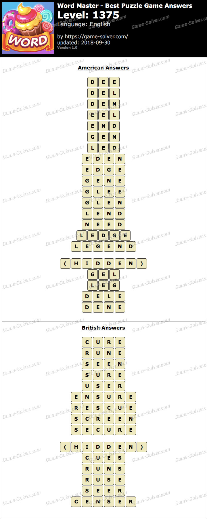 Word Master-Best Puzzle Game Level 1375 Answers