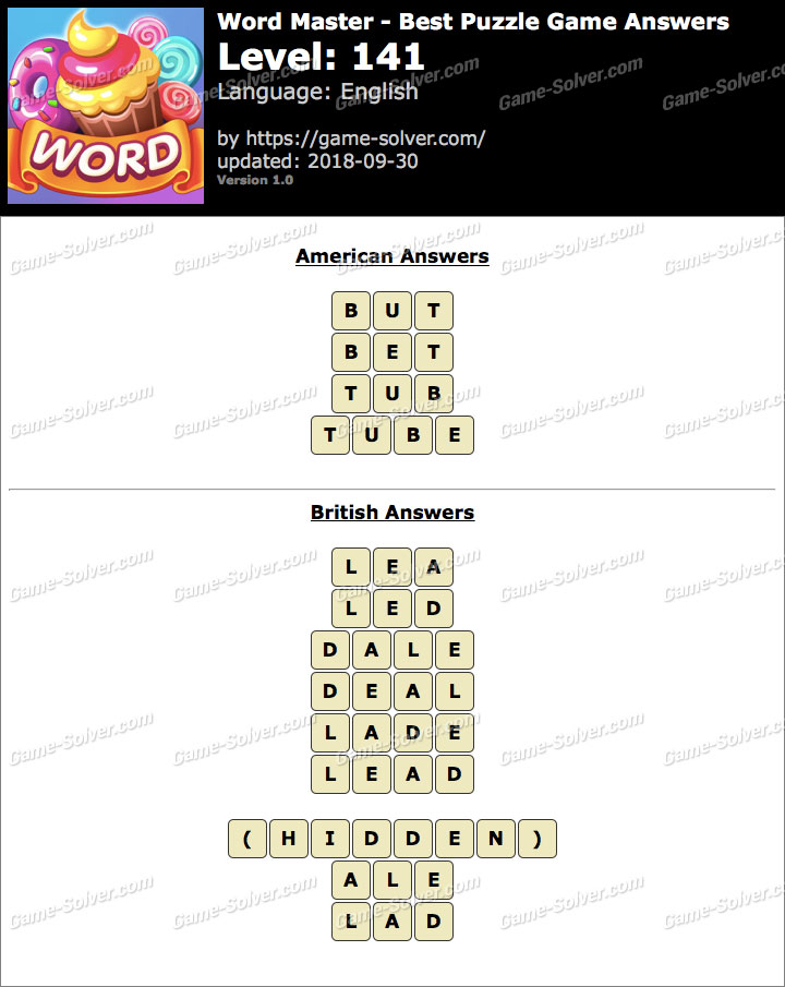 Word Master-Best Puzzle Game Level 141 Answers
