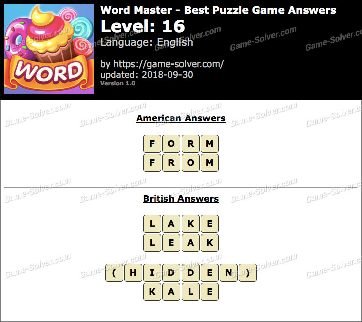 Word Master-Best Puzzle Game Level 16 Answers