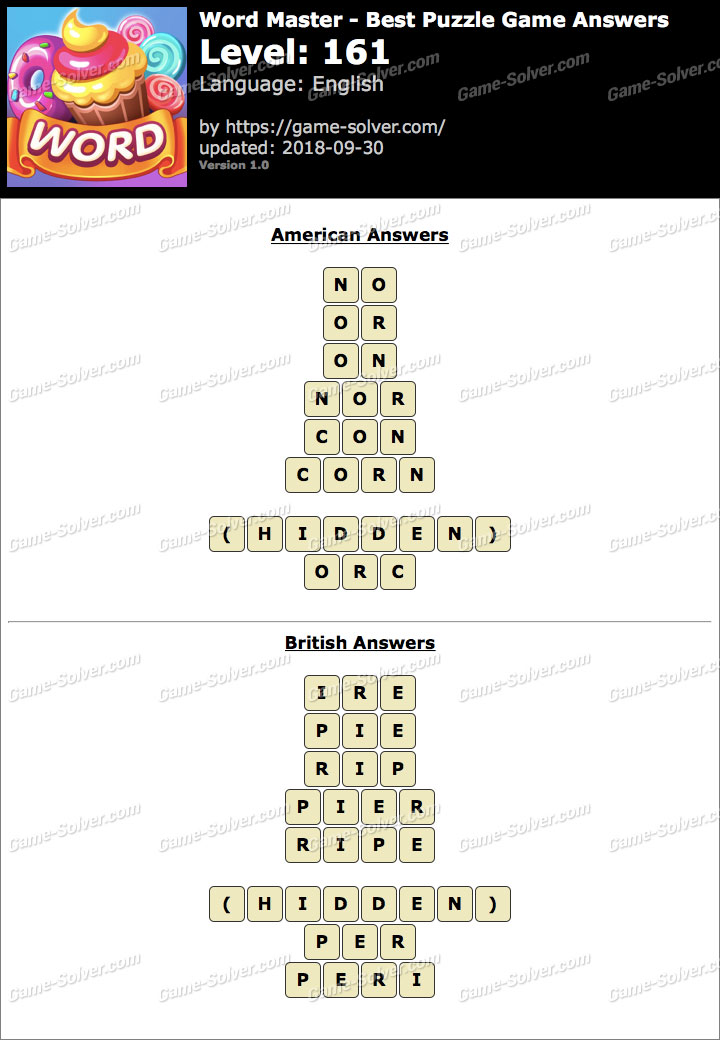Word Master-Best Puzzle Game Level 161 Answers