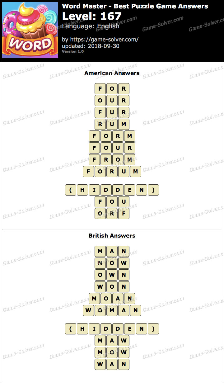 Word Master-Best Puzzle Game Level 167 Answers