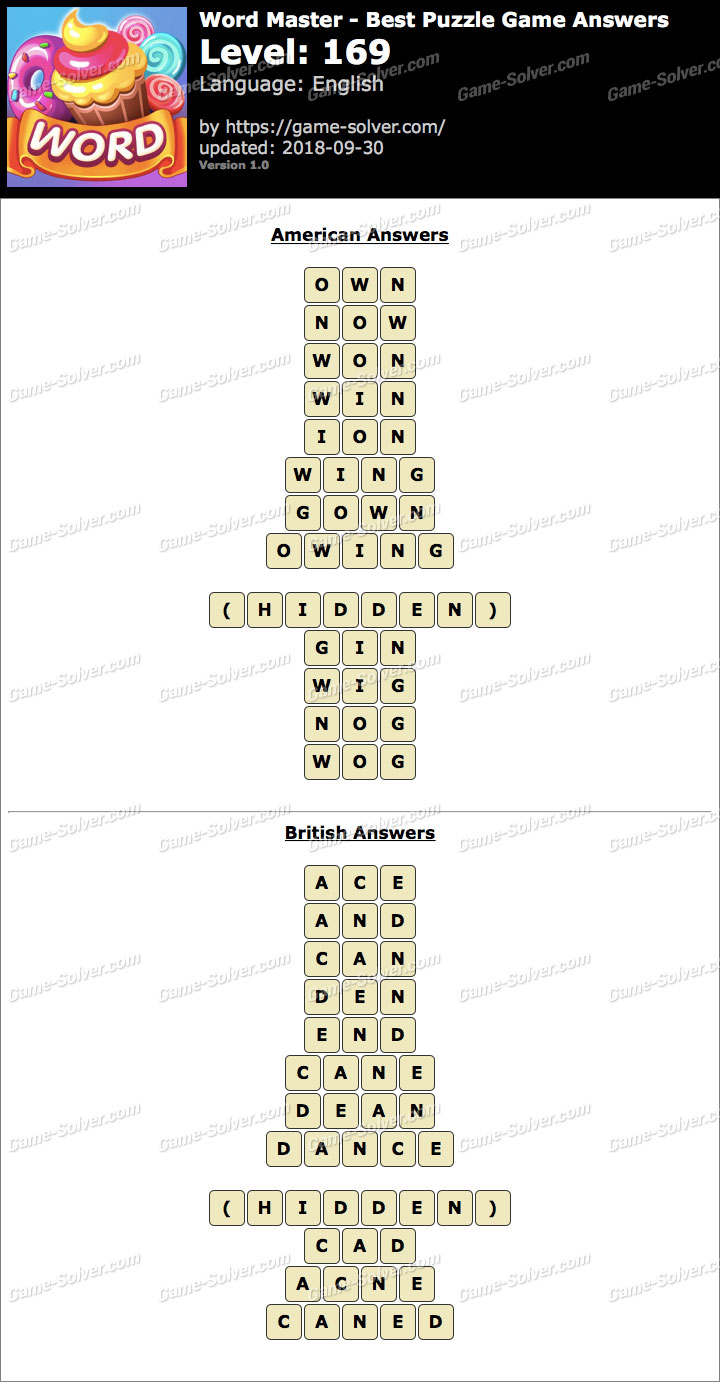 Word Master-Best Puzzle Game Level 169 Answers