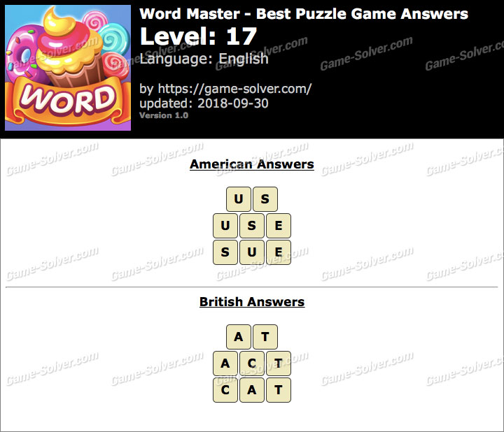 Word Master-Best Puzzle Game Level 17 Answers