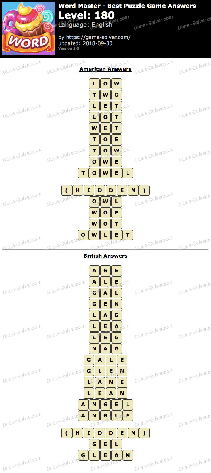 Word Master-Best Puzzle Game Level 180 Answers