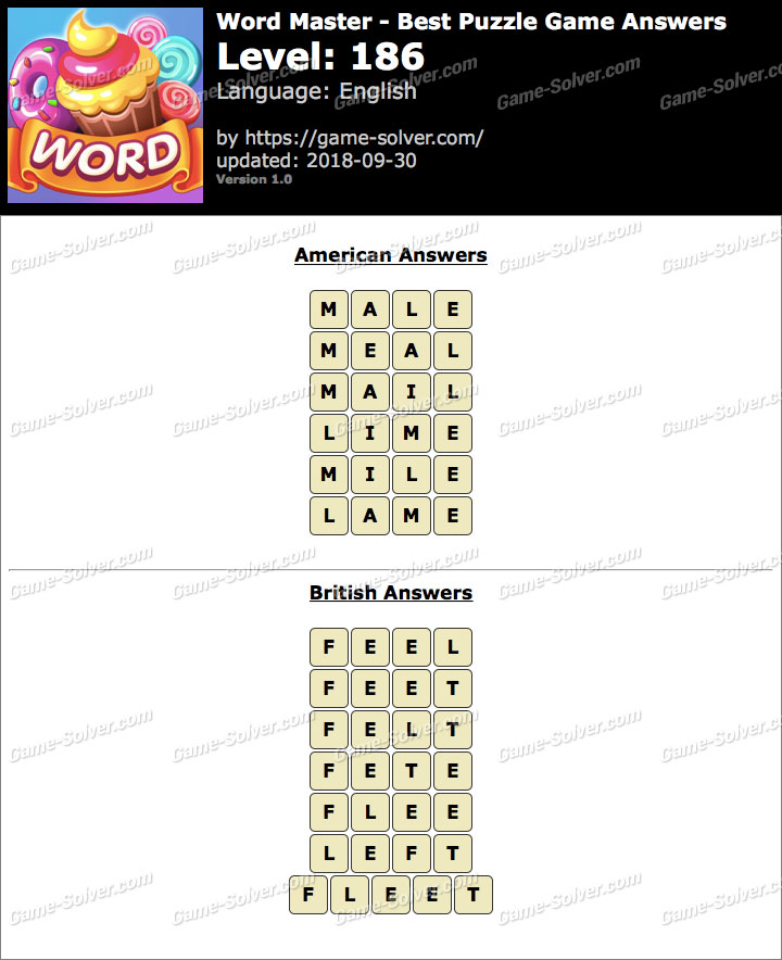 Word Master-Best Puzzle Game Level 186 Answers