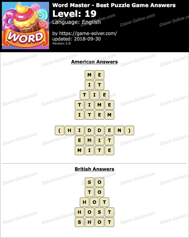 Word Master-Best Puzzle Game Level 19 Answers