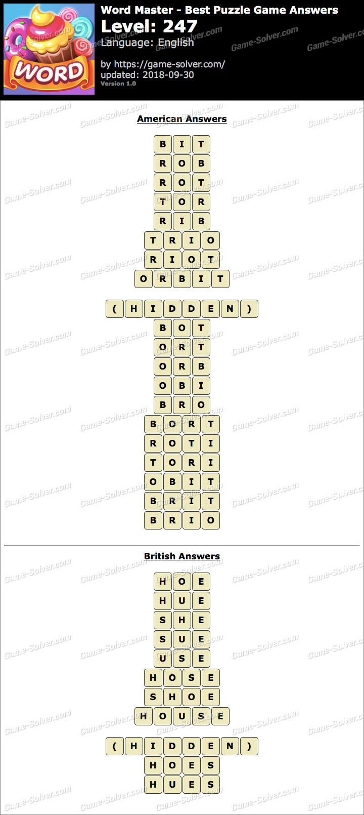 Word Master-Best Puzzle Game Level 247 Answers