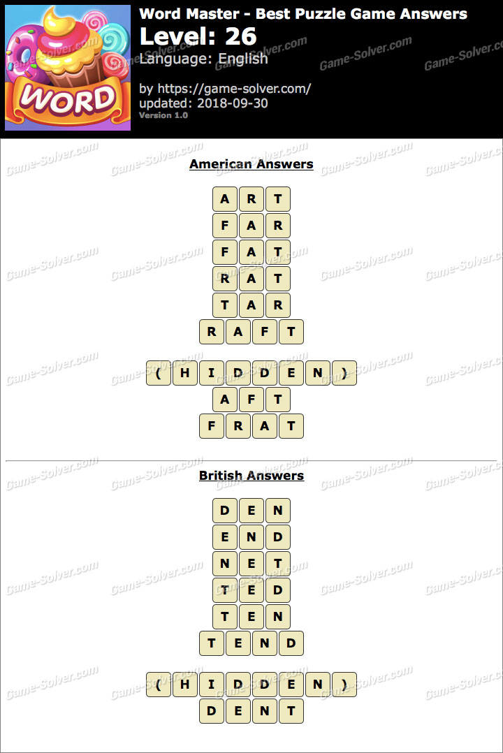 Word Master-Best Puzzle Game Level 26 Answers