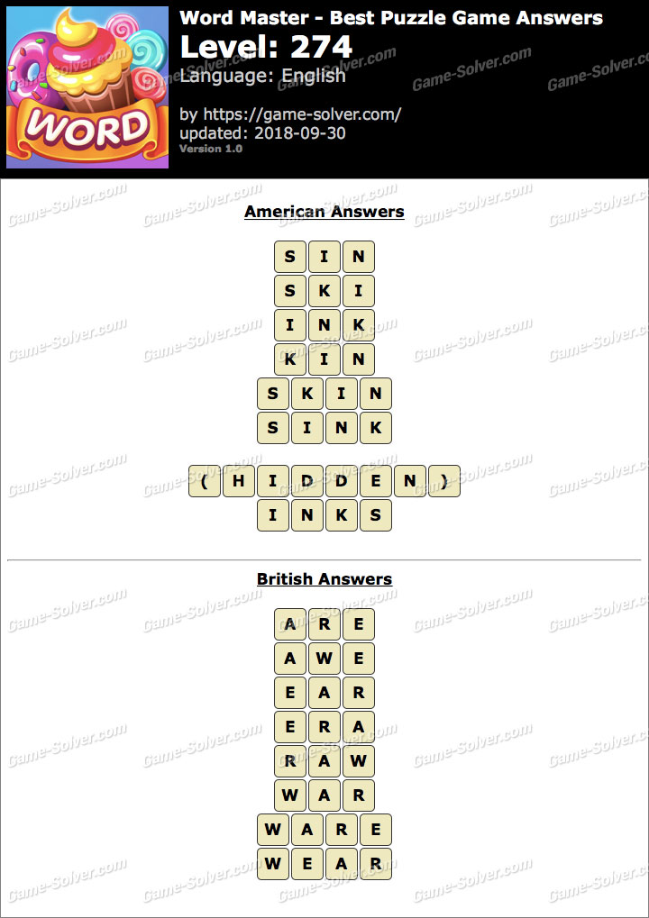 Word Master-Best Puzzle Game Level 274 Answers