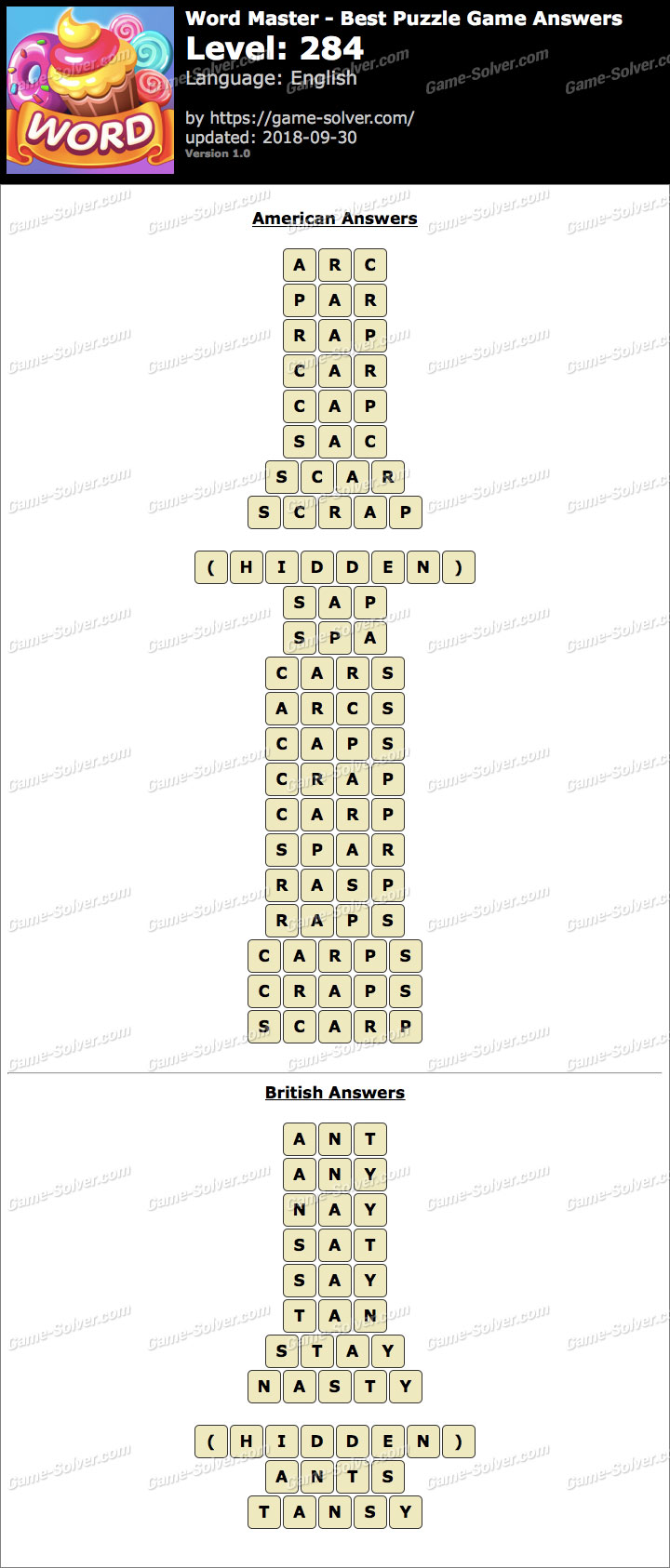 Word Master-Best Puzzle Game Level 284 Answers