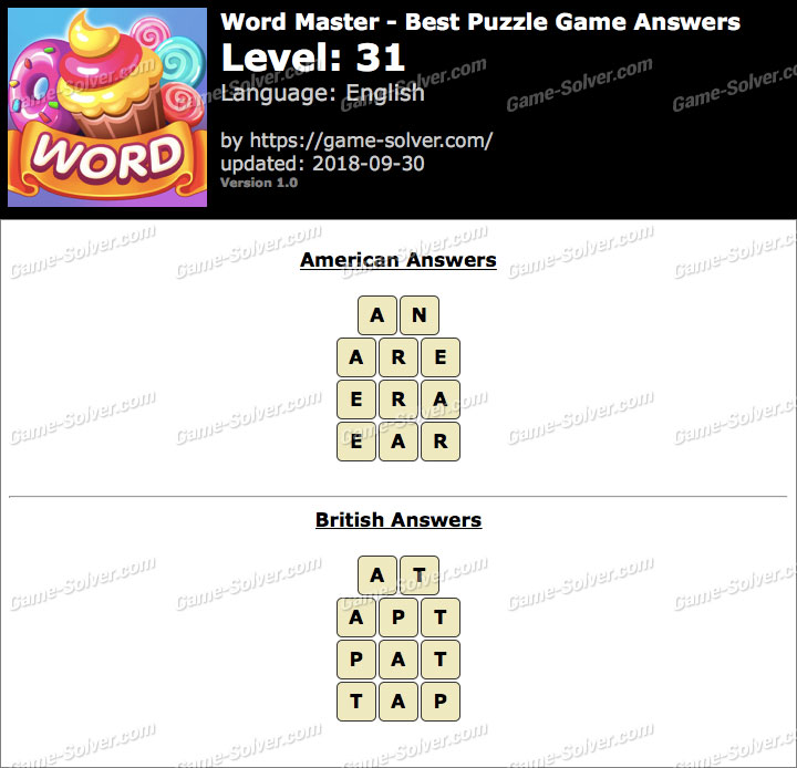 Word Master-Best Puzzle Game Level 31 Answers