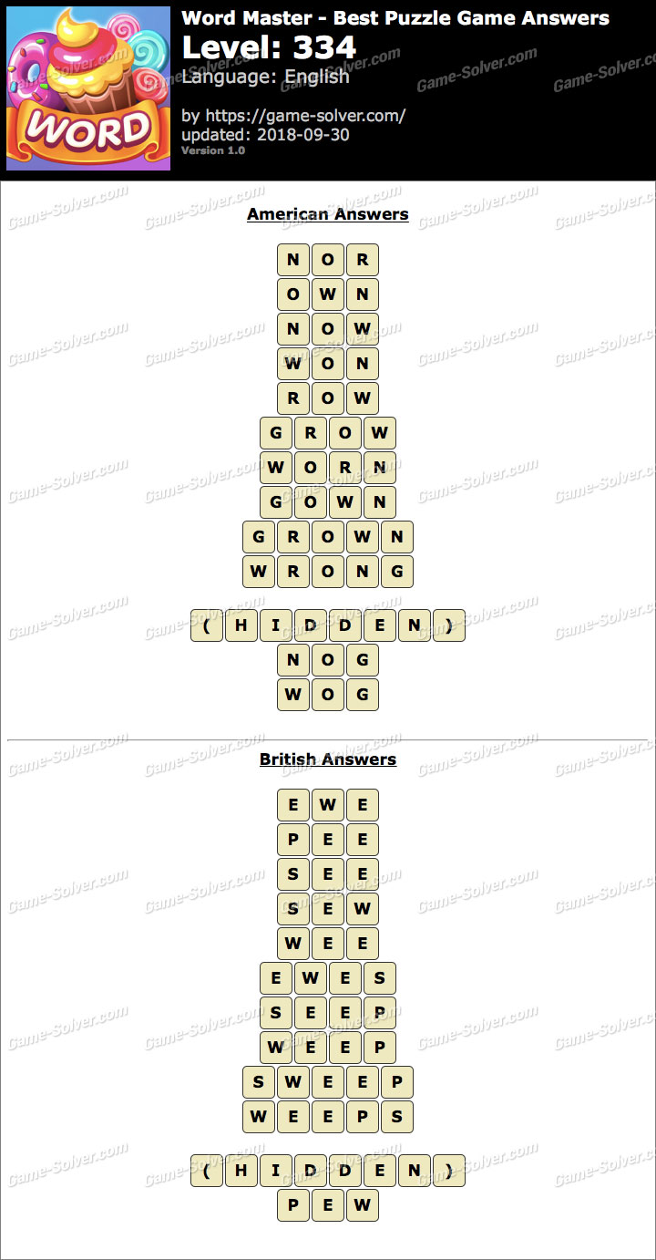 Word Master-Best Puzzle Game Level 334 Answers