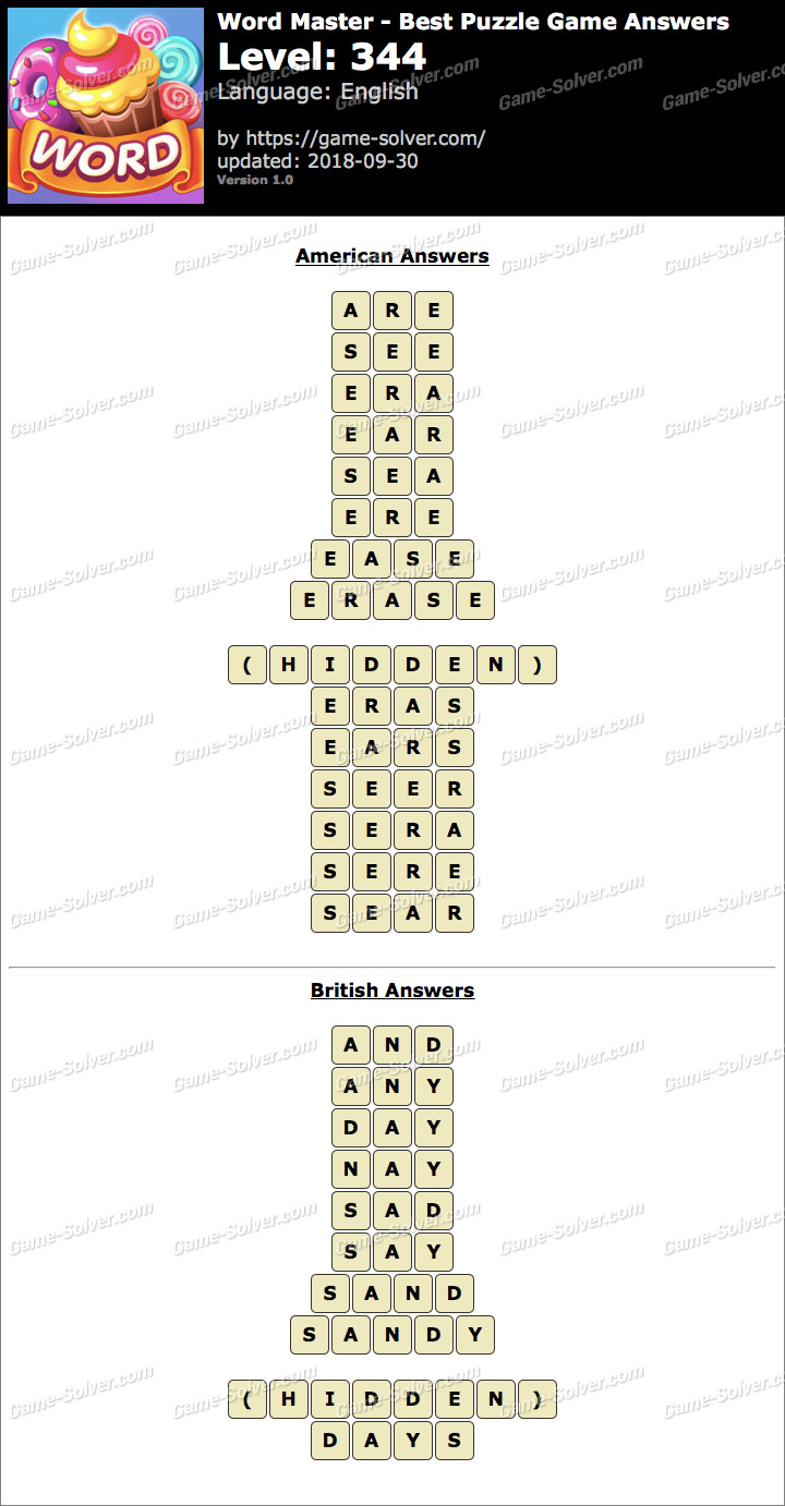 Word Master-Best Puzzle Game Level 344 Answers