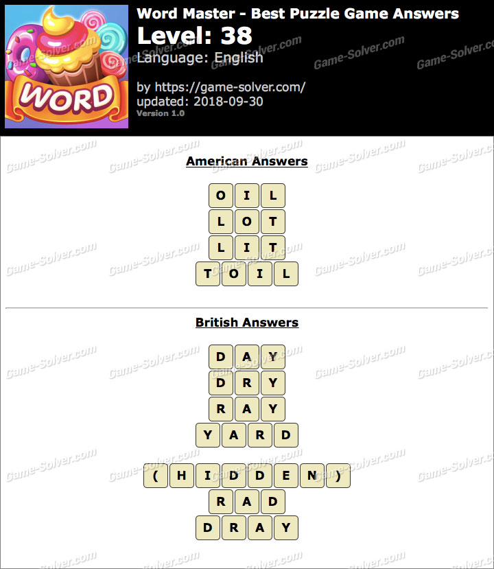 Word Master-Best Puzzle Game Level 38 Answers