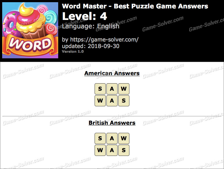 Word Master-Best Puzzle Game Level 4 Answers