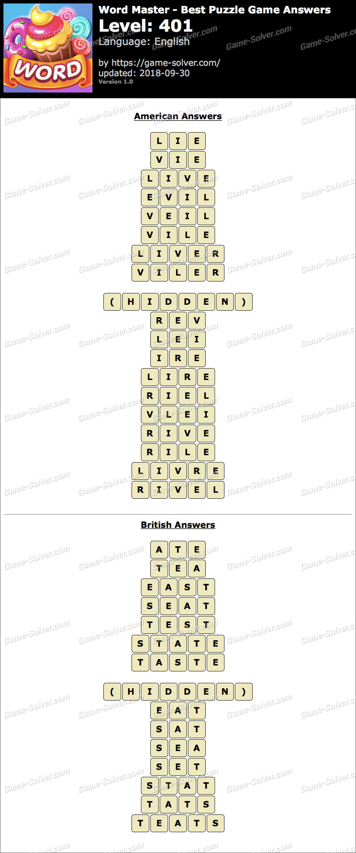 Word Master-Best Puzzle Game Level 401 Answers