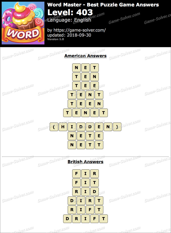 Word Master-Best Puzzle Game Level 403 Answers