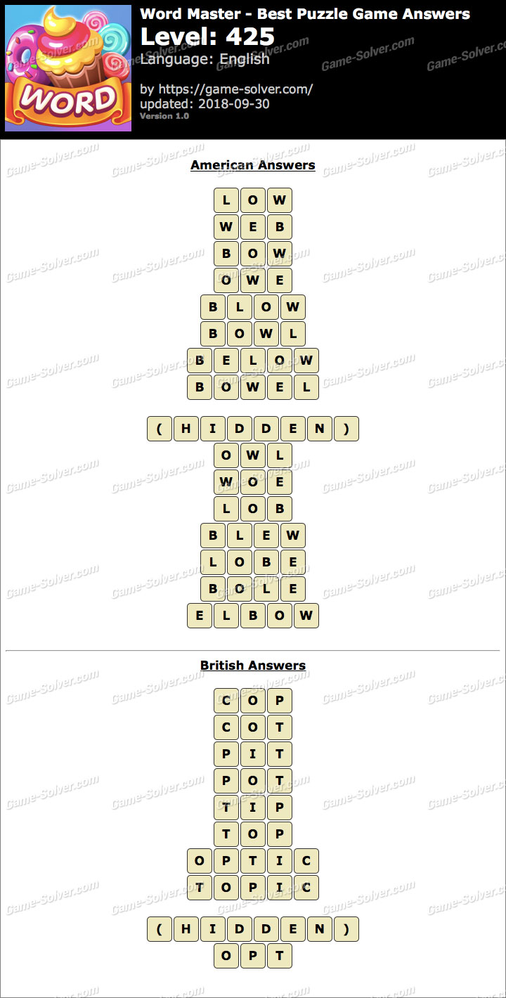 Word Master-Best Puzzle Game Level 425 Answers
